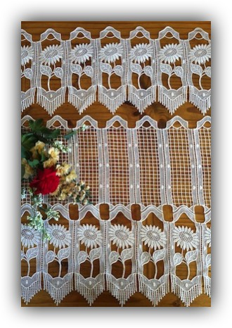 Flower Macrame Lace Tiers And Valances White Ecru