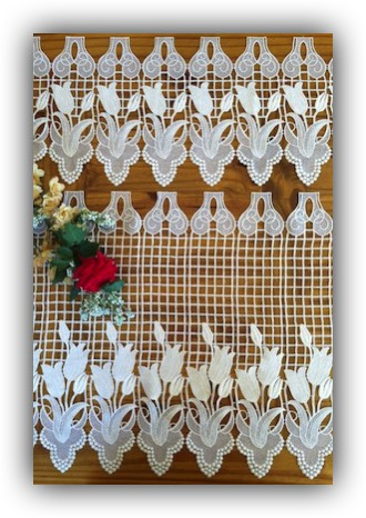 Flower French Lace Curtains Quality Macrame Tiers And